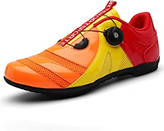 OneChange Road Cycling Shoes for Mens Womens Breathable Anti-Skid Bike Shoes without Cleats for Mountain Riding Bicycle (Color : Orange, Size : 12 UK)