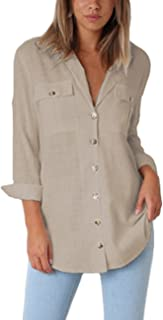 Womens Casual Loose Roll-up Sleeve Blouse Pocket Button...