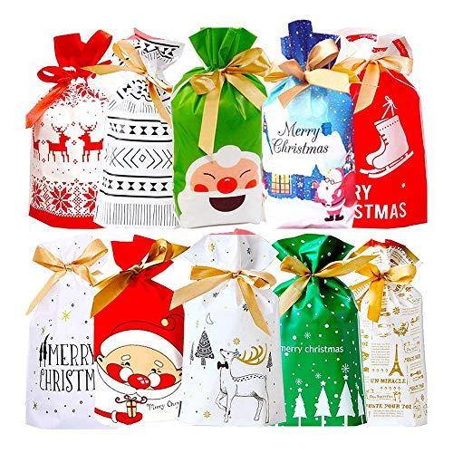 Zueyen 50 sacchetti di Natale con coulisse, 23,5 cm x 15 cm, sacchetti regalo per albero di Natale, sacchetti regalo in plastica, per dolcetti e cioccolatini, per matrimoni, feste di Natale, caramelle