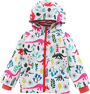 Kehen Little Boys & Girls Hooded Windproof Jacket Light Windbreaker Spring Autumn Dinosaur Cardigan Outwear Coat