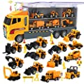 CUTE STONE 25 in 1 Construction Trucks Push and Go Car Carrier Truck Toy, Play Vehicles with Sounds and Lights, 12 Mini Diecast Trucks Included by CUTE STONE