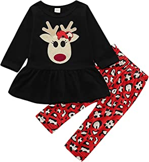 Baby Girls Outfits with Christmas Deer Long Sleeve Playwear Dress Black Shirts Red Pants 2PCS