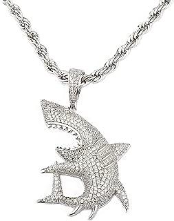TENG LAI Cubic Zircon Pendant Men's Hip Hop Necklace (Shark-Silver)