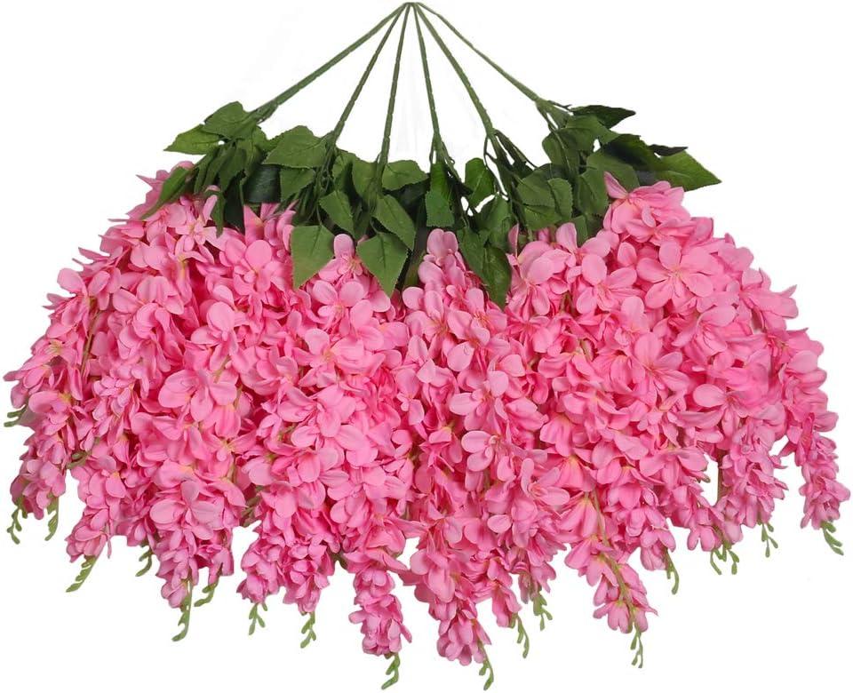 UArtlines Wisteria Artificial Flowers 2.3 Feet//Piece Hanging Wisteria Vine Fake Flower Bush String Home Party Wedding Decoration Set of 4, Light Pink