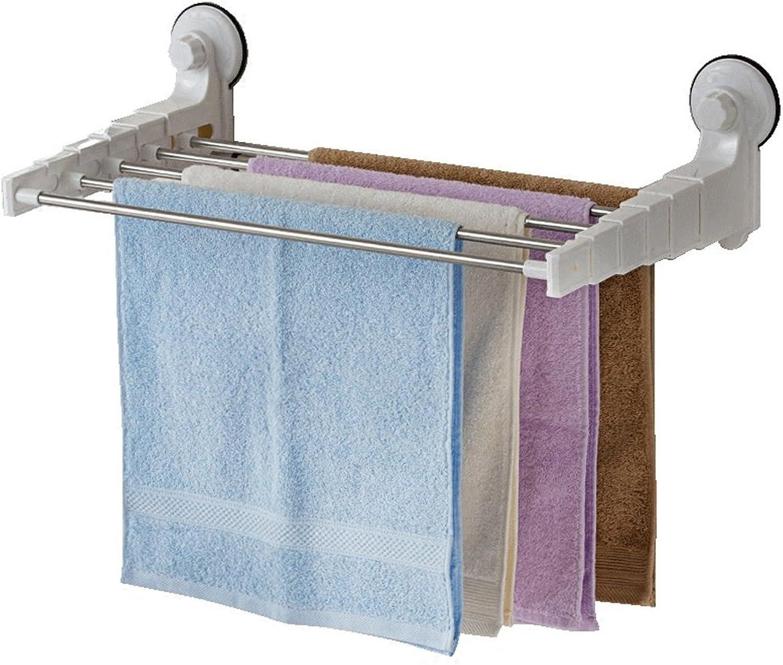 Towel Rack Sucker Bathroom Stainless Steel Retractable Towel Bar Towel Rack Folding Bathroom Towel Bar Clotheshorse 12.5cm40cm62.5cm