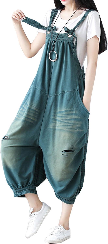 Cresay Women's Casual Cheap Loose Fit Overalls Pattern Bib Denim Louisville-Jefferson County Mall
