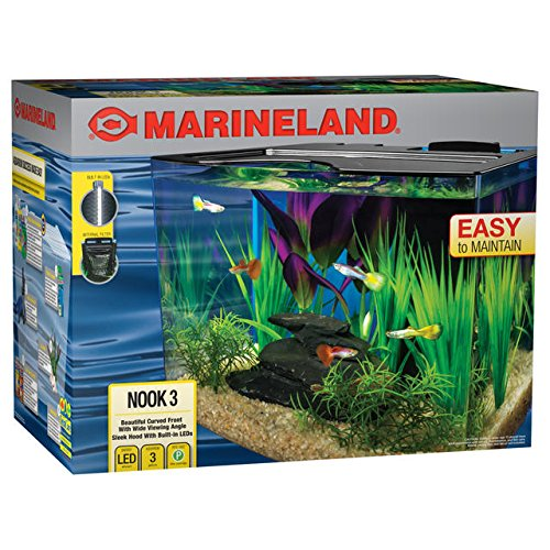 Marineland Nook Aquarium Kit with Built-In LEDs and Hidden Filtration, 3 Gallon