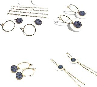 Mini cerchi art deco fibbie arabescate oro blu intercambiabile ottone dorato oro fino 24K regali in resina regalo di natal...