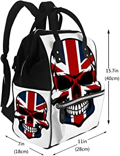 Diaper Bags Backpack Skull Tattoo with Colorful of Union Jack National Flag United Kingdom Arge Capacity Muti-Function Travel Backpack