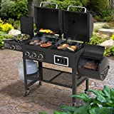 Smoke Hollow 3500-GC1000 4-in-1 Combination Grill, 3-Burner Gas Grill with Side Burner, Charcoal Grill with Smoker/Firebox, Smoke Hollow GC1000 Grill Cover Included
