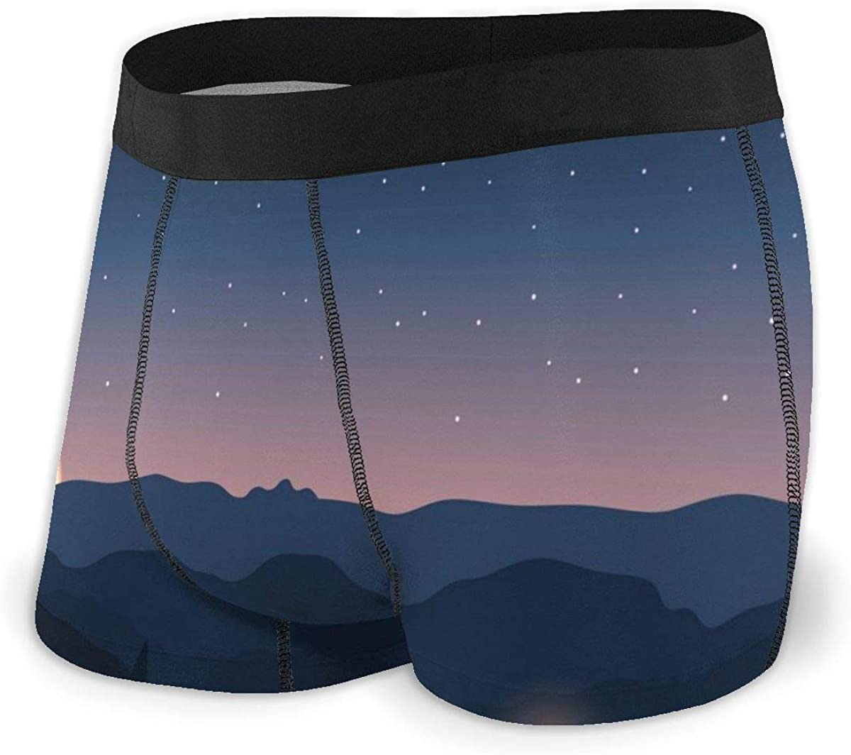 Mens Boxer Briefs Starry Sky Mountain and Light Moon Landscape Bikini Underwear Stretch Low Rise Trunks Boys Underpants