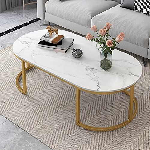 NXYJD Soggiorno Tavolini da Letto Camera da Letto Tavolino Ovale Tavolino Piccolo Appartamento Domestico Mobili da Bagno (Color : White, Size : 60 * 120 cm)