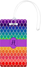 Rikki Knight H Monogram Initial On Rainbow Colors Scallop Luggage Tags, White