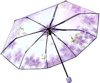 3 Folding Cherry Blossom Rain Wind Umbrella Full Automatic Folding Transparent Clear Auto Travel Umbrella for Women Girls