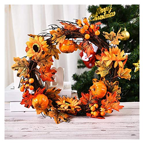 UGsLTyVqv Fall Christmas Thanksgiving Autumn Color Garland Window Restaurant Home Maple Leaf Decoration Ornaments Holiday Pendant (Color : Gold)