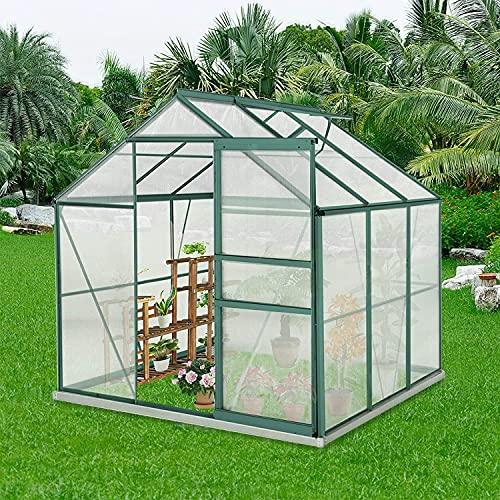 Outdoor Greenhouse, 6' x 6' x7' Garden Greenhouse w/Adjustable Roof Vent, Rain Gutter, Sliding...