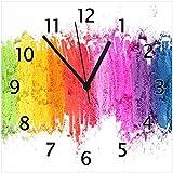Wallario Glas-Uhr Echtglas Wanduhr Motivuhr • in Premium-Qualität • Größe: 30x30cm • Motiv: Regenbogenstreifen auf weißem Hintergrund - Bunter Anstrich