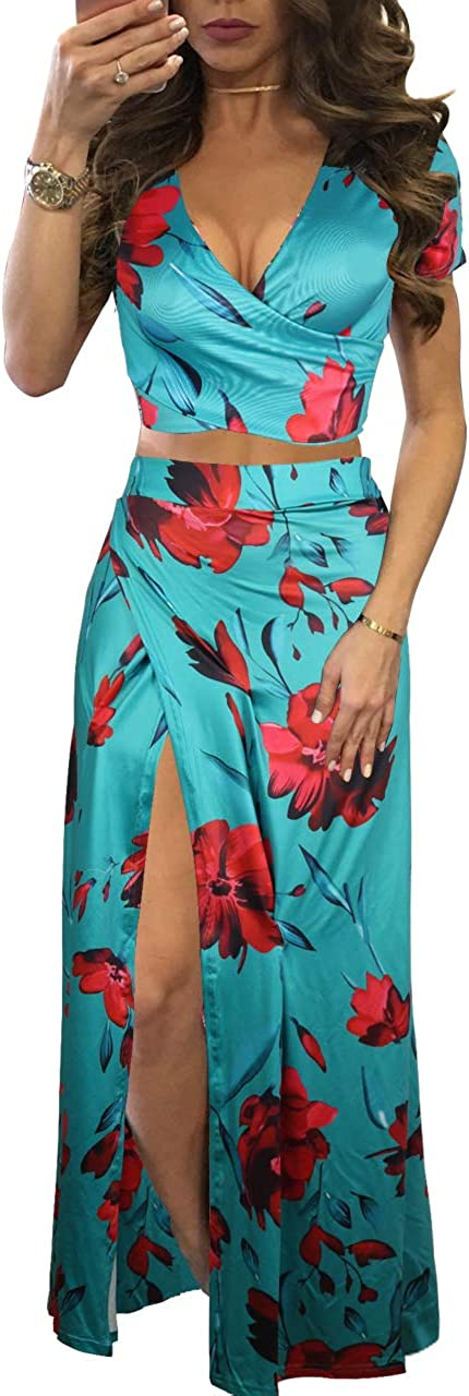 WOKANSE Women's Sexy 2 Piece Clubwear Dre Outfits Free shipping New Max 71% OFF Chiffon Summer