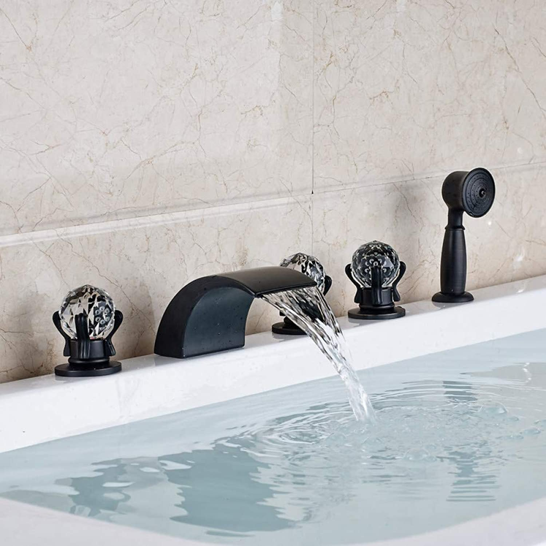 HUASAA Widespread 5pc Waterfall Bathtub Sink Faucet Three Handles Oil Rubbed Black Bathroom Bathtub Mixer Taps