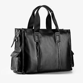 "Men's Accessories Men's Leather Briefcase 14"" Laptop Handbag Shoulder Messenger Satchel Bag Organizer Black for Business Outdoor Recreation"