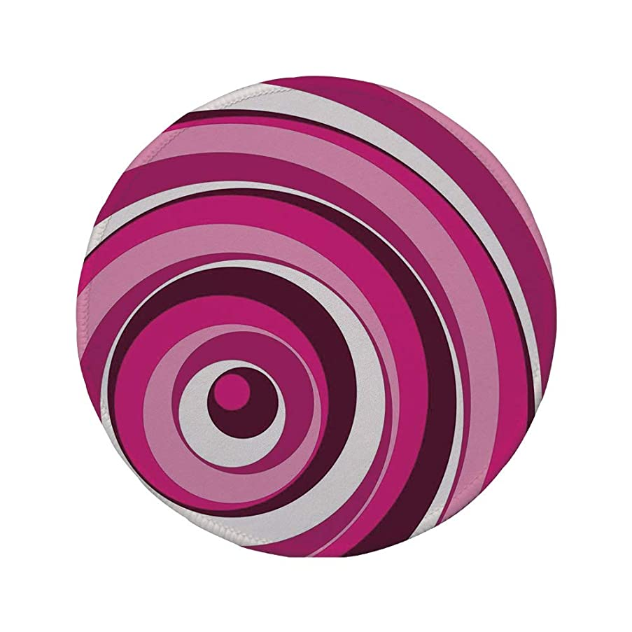 Non-Slip Rubber Round Mouse Pad,Abstract,Vibrant Spiral Turning Circles Bands in Various Shades Creative Artwork,Maroon Hot Pink White,7.87