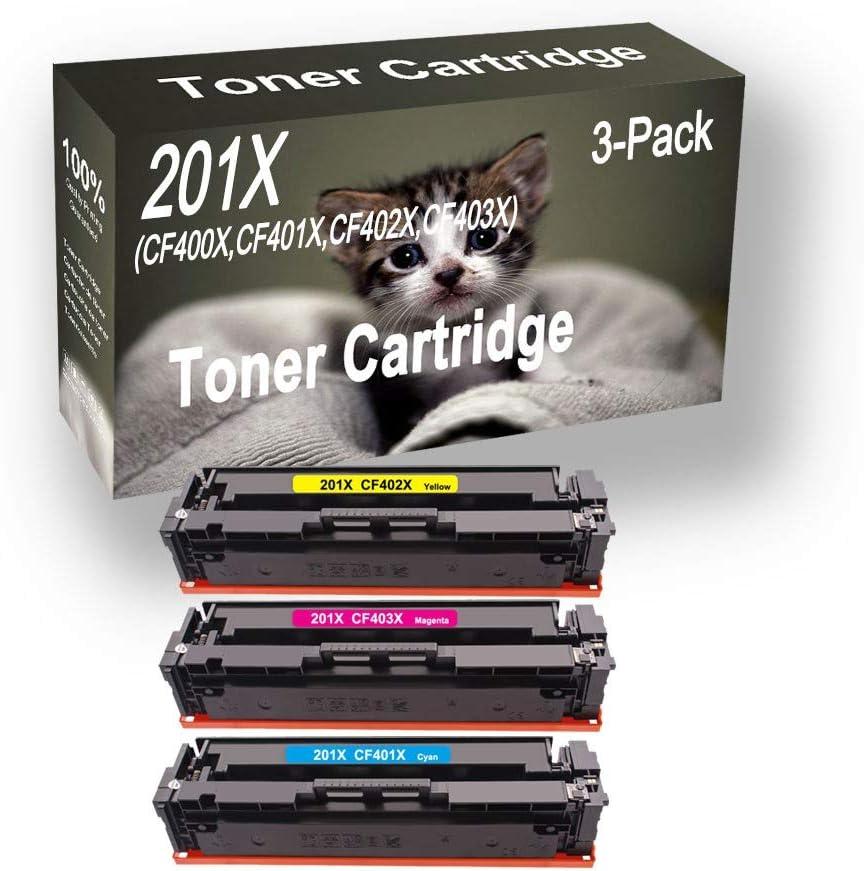 3-Pack (C+Y+M) Compatible Color Pro M252dw Laser Printer Toner Cartridge (High Capacity) Replacement for HP 201X CF401X CF402X CF403X Printer Toner Cartridge