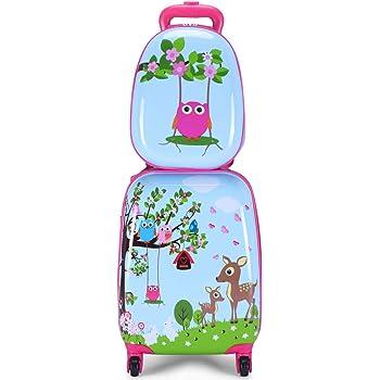 Costway ABS Kids Luggage Set 12'' Backpack 16'' Suitcase Children Boys Girls Travel School Trolley Case (Blue)