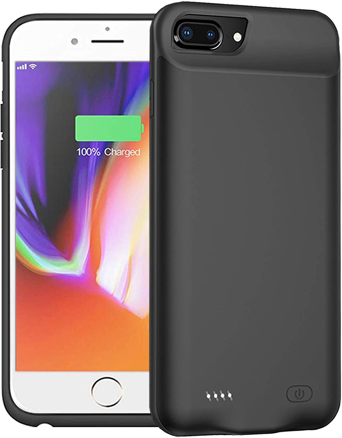 Battery Case for iPhone 8 Plus/7 Plus/6 Plus/6s Plus,10000mAh Protective Portable Charging Case Rechargeable Extended Battery Pack Compatible with iPhone 8 Plus/7 Plus/6 Plus/6s Plus (5.5 inch)(Black)
