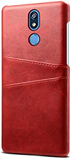 LG K40 シェル, MeetJP LG K40 レザーケース フリップ カバー バンパー スリム ケース の LG K40 (Red)
