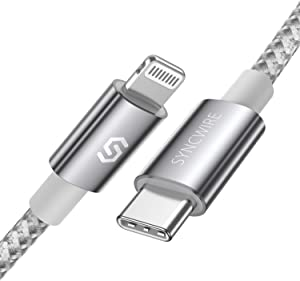 Syncwire USB C to Lightning Cable [Apple MFi-Certified 3ft] iPhone 12 Fast Charger Cable Nylon Braided for iPhone 12/11 Pro/Pro Max/X/XS/XR / 8 Plus/AirPods Pro, Supports Power Delivery - Silver