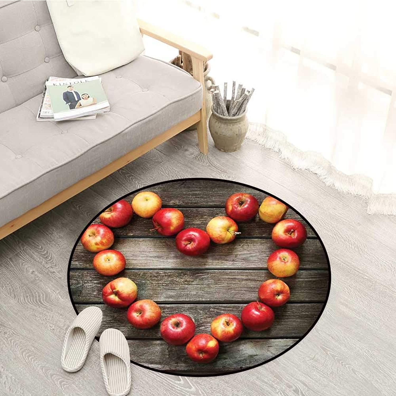 Modern Non-Slip Rugs Rustic Style Home Cafe Decor Wooden Kitchen Surface Fresh Apples Image Art Veggies Fruit Sofa Coffee Table Mat 4'11  Brown Red