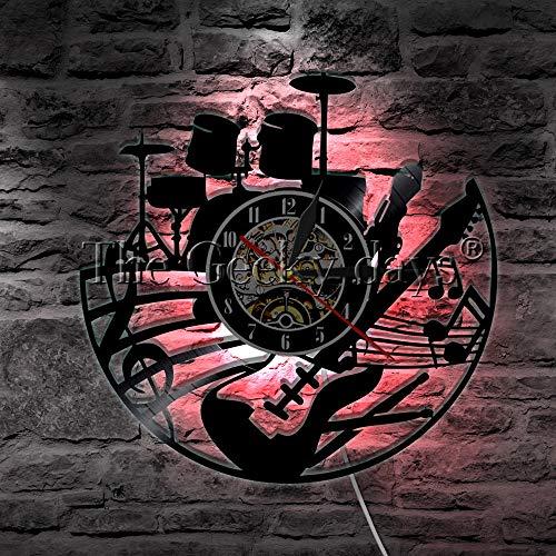 YHZSML 1 Stück Gitarre Und Schlagzeug Schallplatte Wanduhr Rock N Roll Wanduhr Instrument Uhr Schlagzeuger Gitarrist Musik Liebhaber Geschenk A