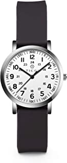 TICCI Women's Petite Watch for Medical Professionals Easy to Read Small Face, Silicone Band, Second Hand, Military Time for Nurses, Doctors,Students (Black White-1)