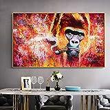 ganlanshu Graffiti Animali Arte Scimmia Gorilla Fumatori Tela Wall Art Poster Soggiorno Stampa Moderna Decorazione,Pittura Senza Cornice,70x125cm