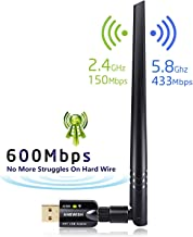 ANEWISH WiFi Adapter ac600Mbps Wireless USB Adapter 5GHz/2.4GHz Dual Band Network WLAN Card with 5dBi External Antenna Compatible PC/Laptop/Tablet (WIFI-600M)