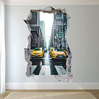 TJJY Wall Sticker New York Yellow Taxi Wall Sticker 3D Art Mural Office Home Decoration 60x90 cm