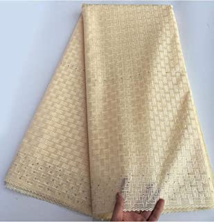 HIUHIU Breathable Soft Embroidery Plain White Polish Cotton lace African Swiss Voile Lace Fabric has no Holes 5 Yards