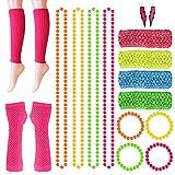 FEPITO 18 Pcs Neon Perles Colliers Bracelets Foudre Boucles d'oreilles...