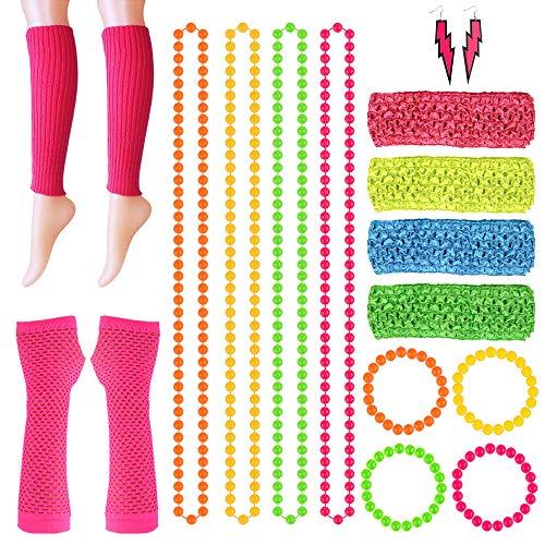 FEPITO 18 Pcs Neon Perlen Halsketten Armbänder Blitz Ohrringe Netzhandschuhe Neon Beinstulpen Dehnbare Stirnbänder Für 80er Jahre Kostüm, 80er Jahre Party Kostümzubehör