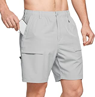 """7"""" Cargo Shorts for Men Lightweight Stretchy Elastic Waist Quick Dry Shorts with Zip Pockets Hiking Fishing"""