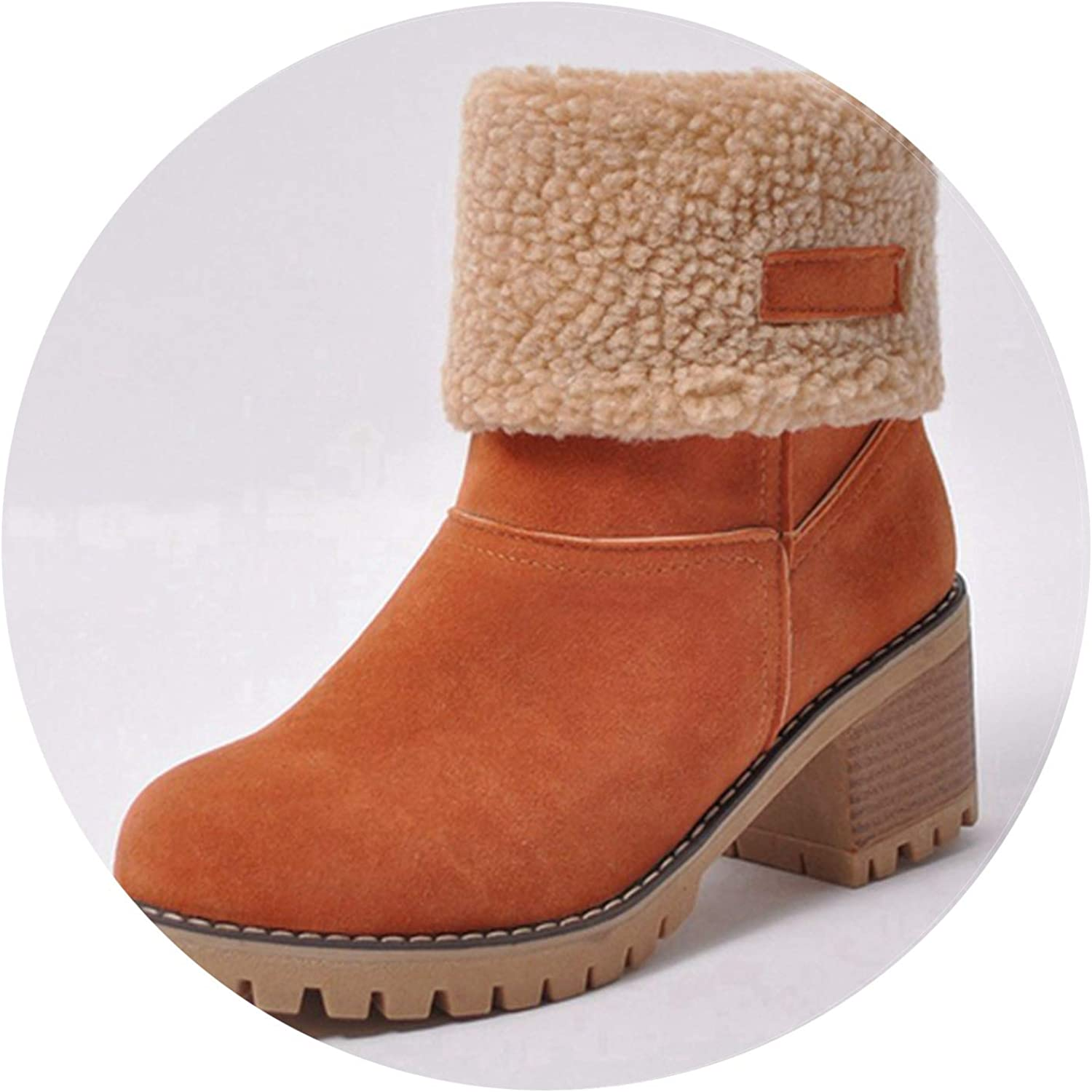 Pretty-sexy-toys Women Boots Female Winter shoes Woman Fur Warm Snow Boots Square Heels Bota Feminina Ankle Boots women,orange,12