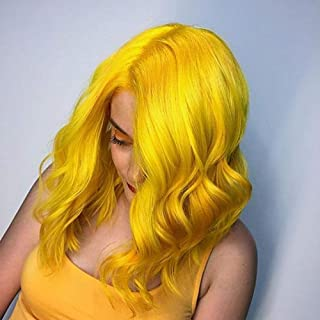 Yellow 14 Inch Lace Front Wigs Wave Synthetic Hair For Women 150% Density Cosplay (14 Inch/Yellow)