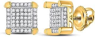 مجوهرات إف بي 10 قيراط ذهب أصفر للرجال جولة الماس مربع العنقودية أقراط مسمار 1/6 Cttw (الحجر الرئيسي: I3 وضوح؛ G-H)