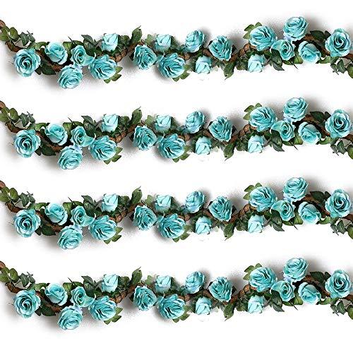 Ksnnrsng 2 stuks kunstmatige rozenslinger bloemenkrans kunstbloemen zijden bloemen rozen slinger hangend wijnstok voor thuis muur bruiloft boog decoratie 220 cm - blauw.