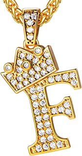 Bling Alphabet Name Jewelry Men CZ Crowned Initial Necklace Iced Out King Crown Women 18K Gold Plated Cubic Zirconia Letter Pendant 3mm 22