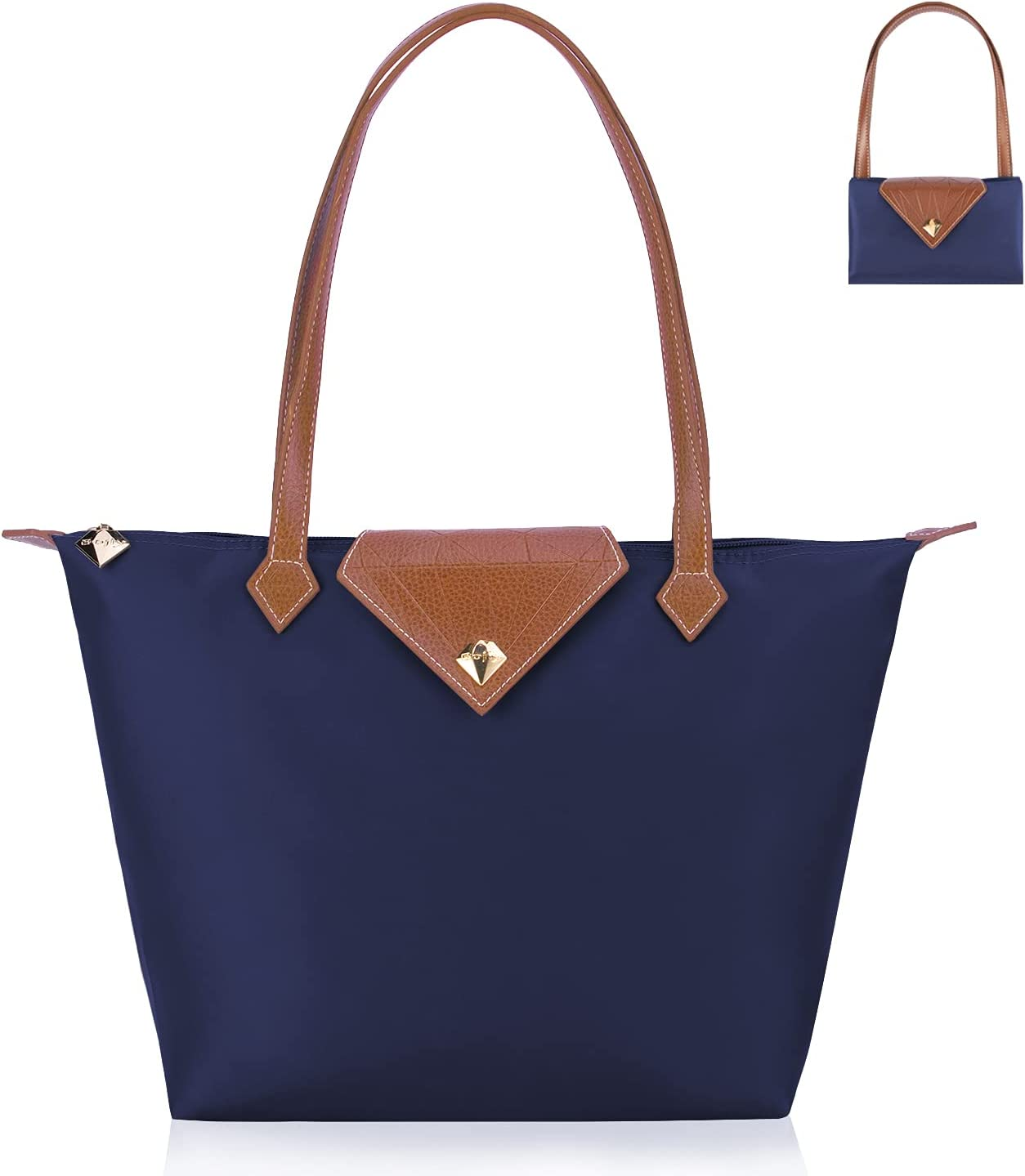 BOJLY Bolsos Totes para Mujer, bolso de hombro Bolsos para las mujeres Diamante Nylon Tote Bag Ladies Shopping Plegable Tote Bolsa de viaje de playa Impermeable Casual Azul Pequeña