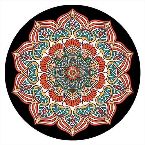 AZUOYI Alfombra Redonda baño, 120cm Mandala Antideslizante y Lavable, Alfombra Interior Y Exterior, Sala alfombras de habitacion de Estar Dormitorio cabecera,D,120cm