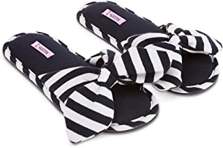 Millffy New Summer Sweet Ladies Shoes Pink Home Slippers Cotton Indoor Slides Knot Stripe Slippers