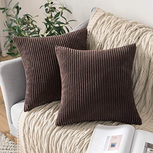 MIULEE Corduroy Soft Solid Decorative Square Throw Pillow Case Striped Cushion Cover for Home Sofa Bedroom 18 x 18 Inch 45 x 45Cm Chocolate Set of 2 Lined