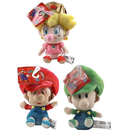 "Official San-ei Little Buddy 5/"" Baby Mario Peach and Luigi Bundle"